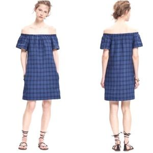Madewell Blue Black Plaid Off The Shoulder Dress